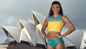 Australian Olympic women's 400m athletics competitor Morgan Mitchell wears the Australian Olympic team competition uniform during the uniform unveiling in Sydney, Tuesday, April 19, 2016. The Rio 2016 Olympic Games gets underway on August 5. (AAP Image/Dean Lewins) NO ARCHIVING
