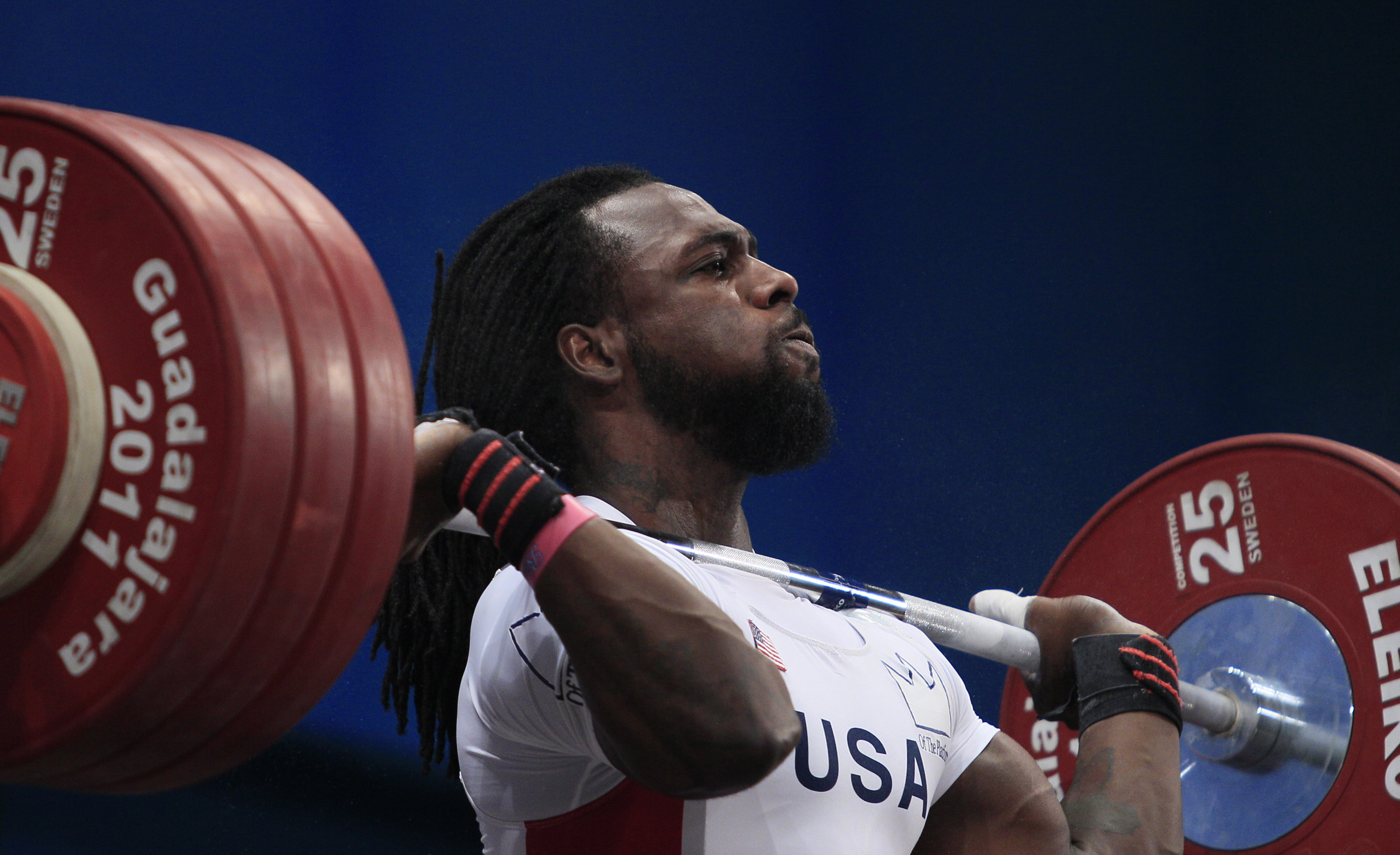 Kendrick Farris, from the United States, lifts 191kg during the men's 85 kg weightlifting event at the Pan American Games in Guadalajara, Mexico, Tuesday, Oct. 25, 2011. Farris won the bronze medal. (AP Photo/Ariana Cubillos)